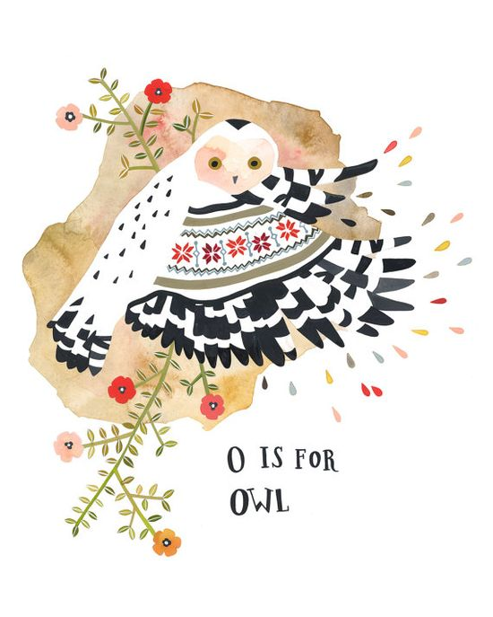 """O is for Owl"" illustration by Rebekka Seale on etsy.com"
