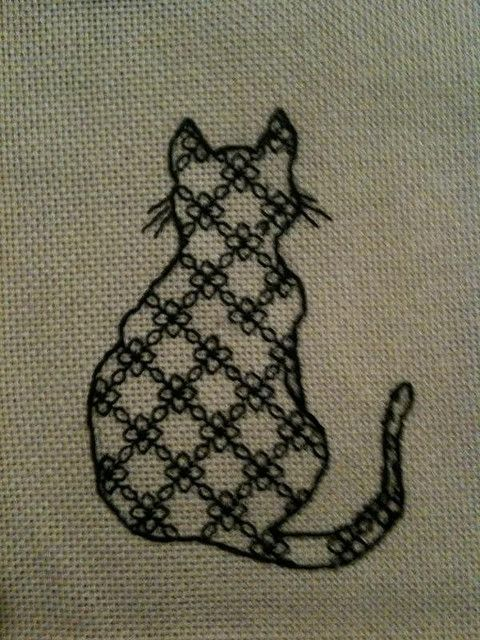 Cat embroidery in blackwork