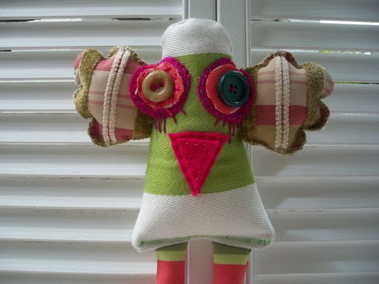 Recycled fabric toy /  bird toy  by by Gizabelle4kids on Etsy, $35.00