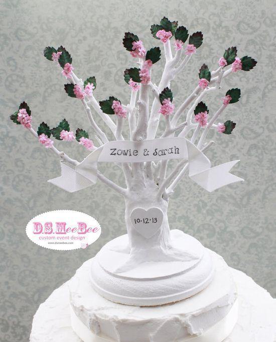 Custom Handmade Flowering Tree Wedding Cake Topper by DSMeeBee,