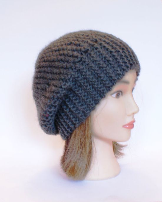 Beret style slouch hat  army green slouchy beanies by Johannahats, $35.00