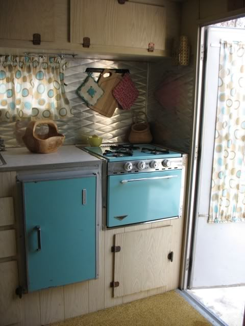 vintage travel trailer - turquoise interior