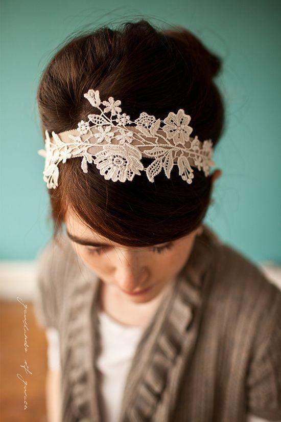 Delicate lattice headband in lace - GarlandsOfGrace via Etsy