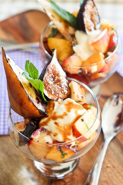 Grilled Fruit Salad with Creamy Goat Cheese Topping