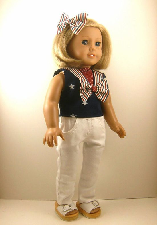 American Girl Doll Clothes Nautical Top Hair Bow by dressurdolly2, $22.00