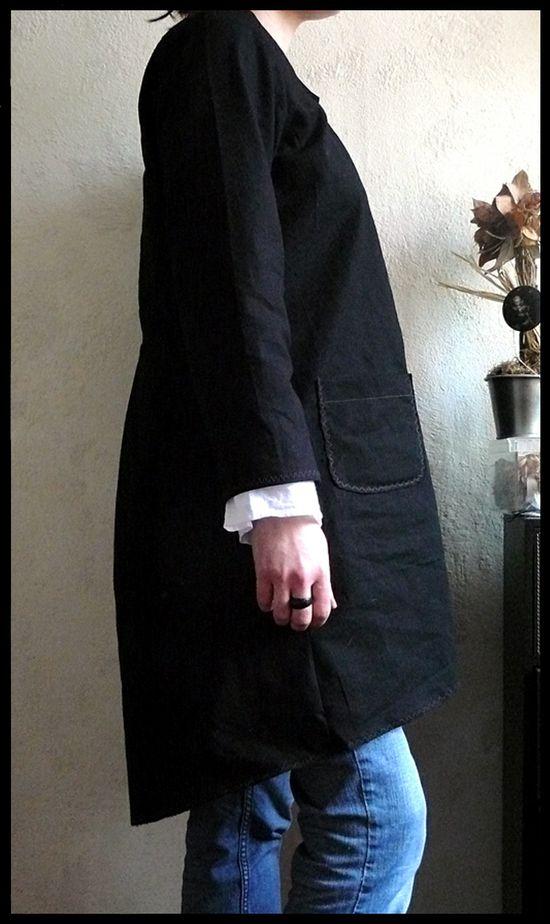 black linen coat