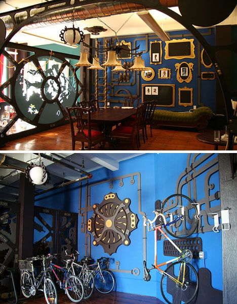 Three Rings office, San Francisco.  Designed by Because We Can.  Steampunk style.