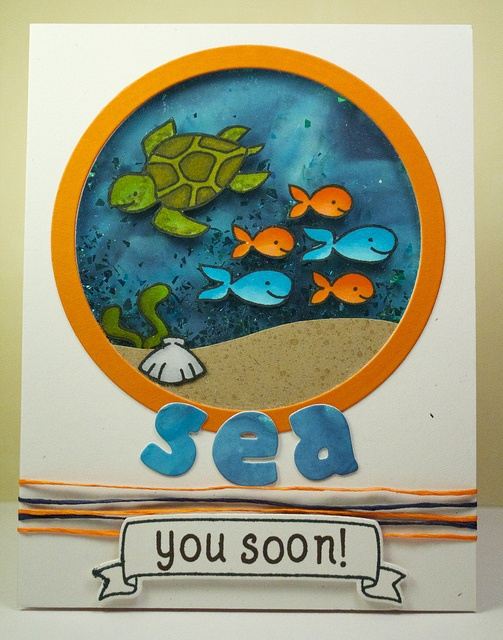 Under the Sea Shaker card by Lizzy! Lawn Fawn - Critter in the Sea, Home Sweet Home, Claire's ABCs, Quinn's ABCs Lawn Cuts Dies _ Sea You Soon!