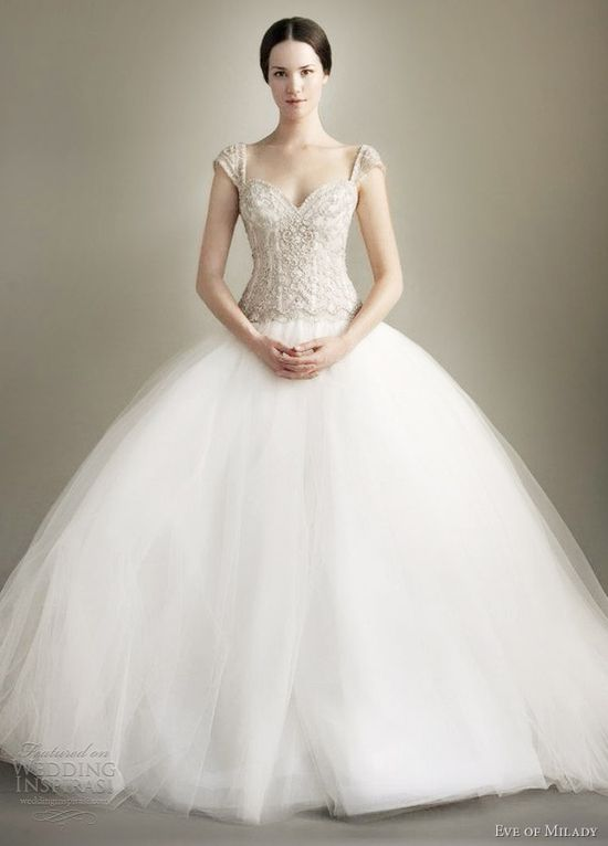 eve of milady spring 2013 cap sleeve ball gown wedding dress