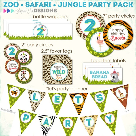 Zoo, Jungle, Safari Themed Birthday, Wild Animals Party Pack - PRINTABLE