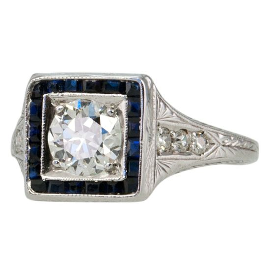 Vintage Diamond and Sapphire Art Deco Ring