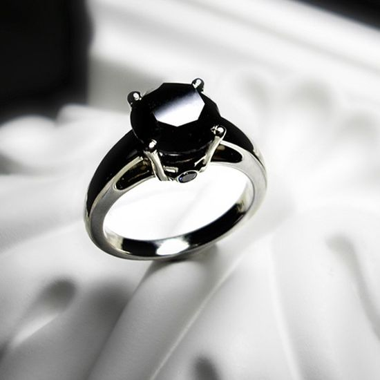 Black Diamond Engagement Ring.. wow!