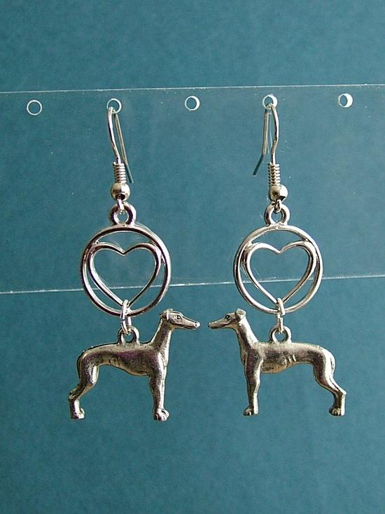 I Heart Greyhound or Whippet Earrings. $12.00, via Etsy.