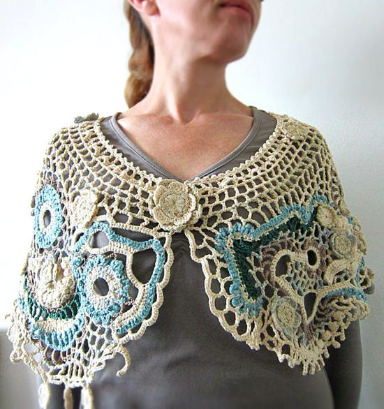 Beige crochet sawl freeform shawl crochet accessory by MARTINELI, $135.00