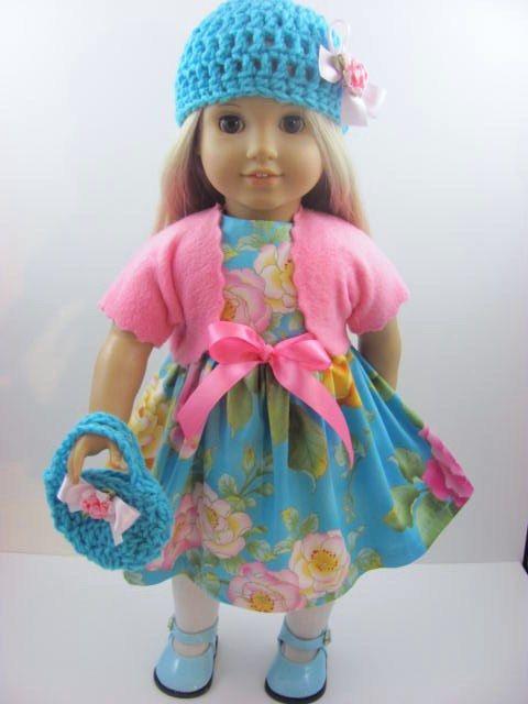 Aqua Roses Doll Dress, Sash, Shrug, Hat, and Handbag for the American Girl Doll