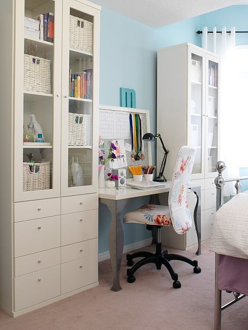 Home Office #office #white #desk #cabinets #storage #organized