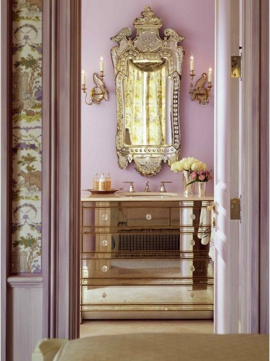 Silver and lavender powder room