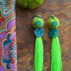 Teal & Lime Green Silk Tassel Earrings « SilverBotanica – Handmade Jewelry designed by Alicia Hanson and Hi Octane Industries Inc.