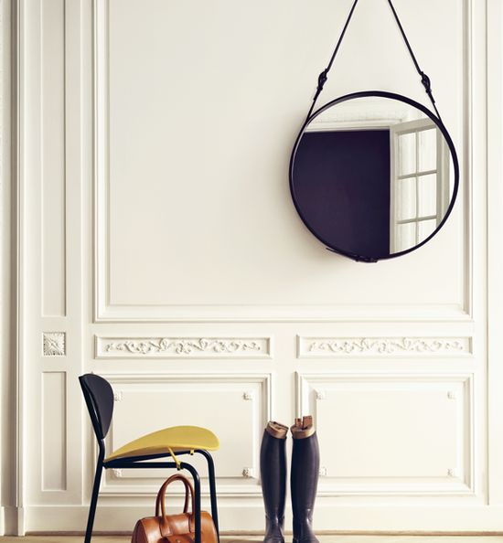 Mirror by Jacques Adnet, 1950's: Round mirror with leather and brass higntes. #Mirror #Jacques_Adnet_Mirror