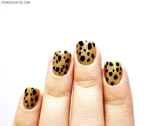 Easy looking Cheetah Print Mani.