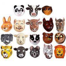 18 Animal Plastic Childrens Face Masks - Farm, Woodland & Wild Animals
