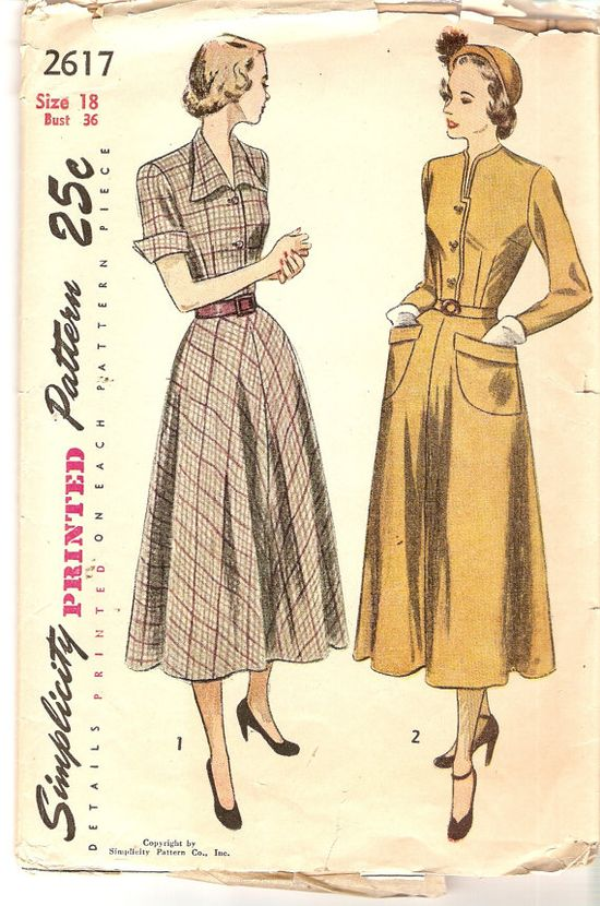 Softly Flared Dress pattern Bust 36 1940s Vintage by CherryCorners, $16.00