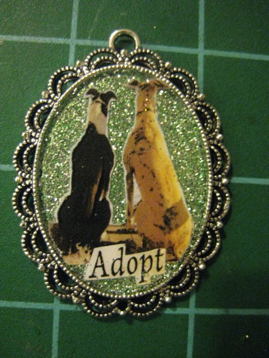 Adopt, Greyhound Whippet Sighthound Pendant, Pretty, Lacey-edged Pendant or Collar Tag for You or Your Pet