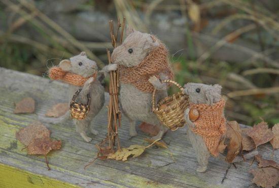 Stuffed Animals by Natasha Fadeeva - autumn mice