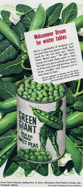 A Midsummer Dream for Winter Tables. #vintage #1950s #food #ads #peas