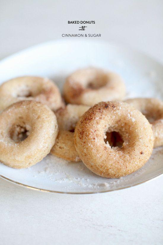 baked doughnuts with cinnamon & sugar