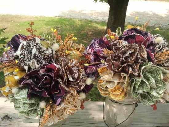 Handmade Fabric Flower Wedding Bouquet