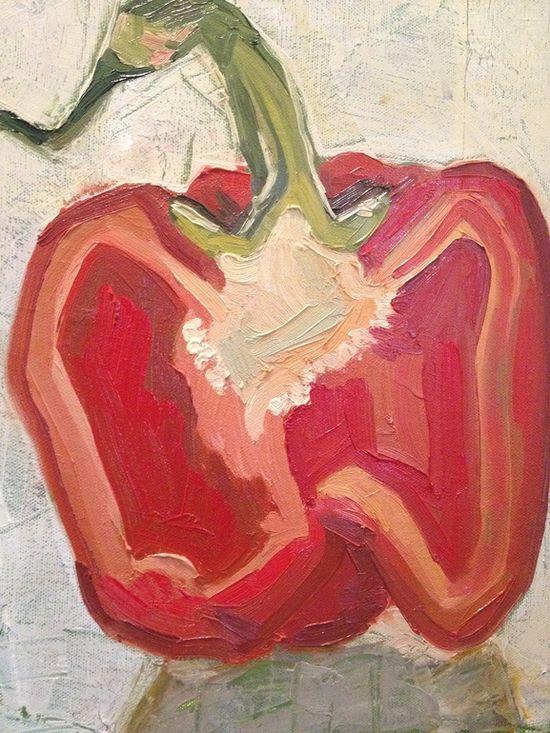 Red Pepper by Anna Kodesch - kitchen art!