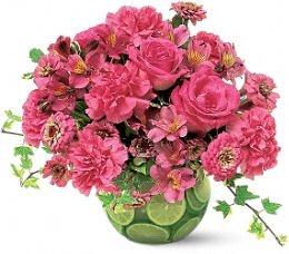 Interesting summer floral arrangement idea.