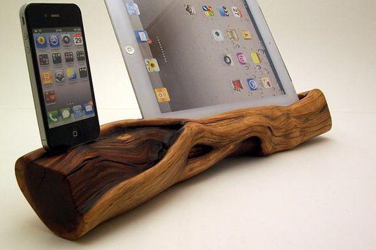 Manzanita Wood iPad Stand & iPhone Dock