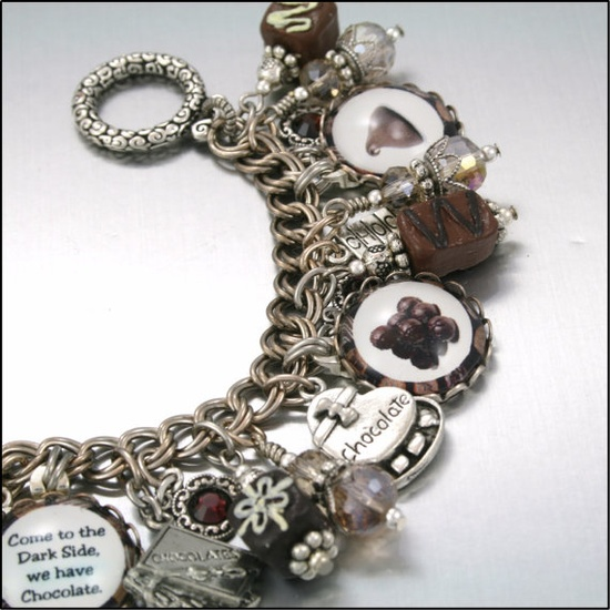 Charm Bracelet Silver Chocolate is Better by BlackberryDesigns, $87.00