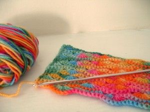 This stitch pattern is called 'Wavy Shell Stitch I', and is from Harmony Guides: Basic Crochet Stitches… doesn't it complement these awesome colors beautifully?