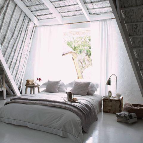 white attic bed room