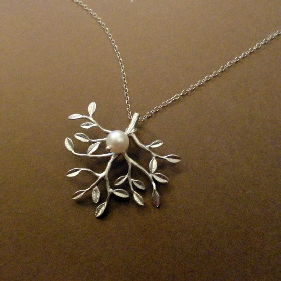 Silver tree branch with leaves pendant.  Fresh water pearl charm.