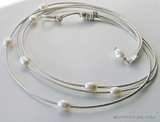 Silver metallic leather necklace white pearl three by JudysDesigns.etsy..., $32.00