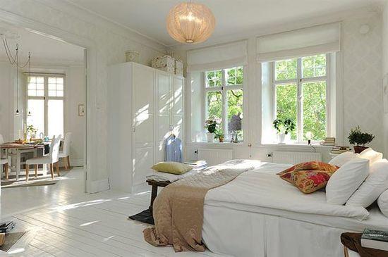 Aran?acja sypialni wystrój skandynawski w kolorach bia?y - projekt wn?trza #1140941, Homplex