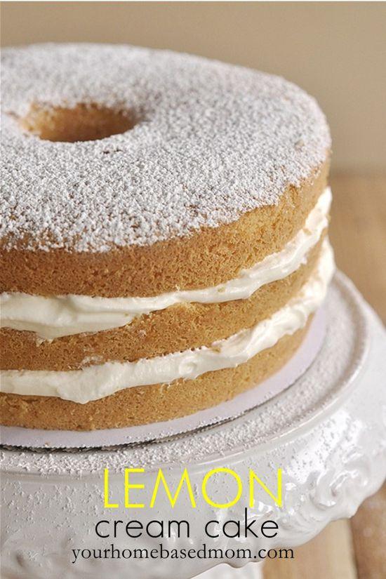 Lemon Cream #Cake from www.yourhomebased...