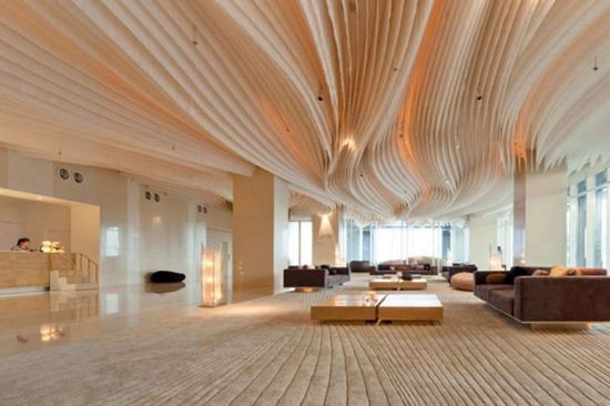 Hotel design, Best Pattaya Hotel Design With Waves Decoration In Ceiling And Floor: Pattaya Thailand hotel interior design inspired by ocean...