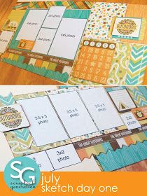 scrapbook generation: July Sketch Day One layouts