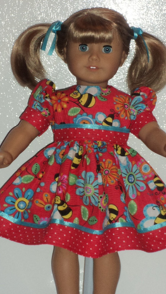 American Girl Doll Clothes  Red Bumblebee Dress by susiestitchit, $16.00