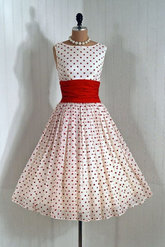 ~Party Dress: 1950's, flocked polka-dot chiffon, heavily-ruched cummerbund with sash, tulle-lined skirt, backside bow train detailing~