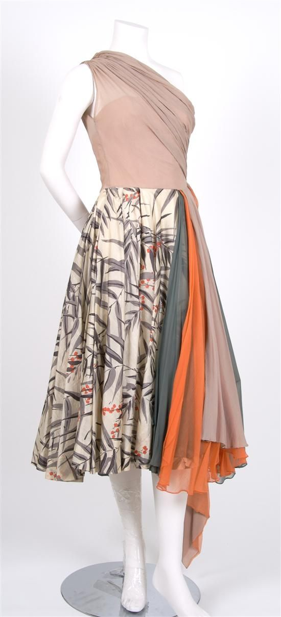 A Mollie Parnis Silk Cocktail Dress,   1950s,