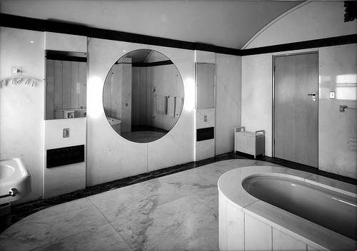 Art Deco bathroom, because it's awesome.