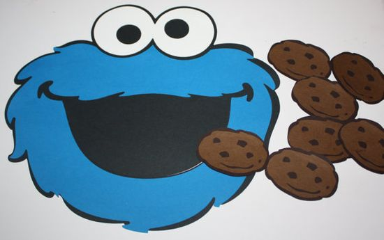 """Pin the tail"" game, but with cookies into Cookie monster's mouth instead."