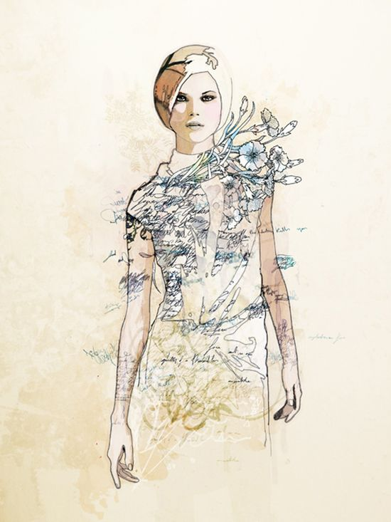 by Raphael Vicenzi #fashion #illustration #art #sketch #drawing #blue #flowers #girl #gown #style