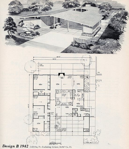 Cool mid-century modern floorplan with atrium.